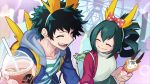 1boy 1girl amusement_park asui_tsuyu backpack bag blue_jacket blush boku_no_hero_academia bow breasts closed_eyes collarbone commentary_request cup drink drinking_straw food freckles frog_girl green_hair hair_bow hair_ornament hair_rings happy hatsuta highres holding holding_cup holding_food hood hooded_jacket jacket long_hair looking_at_another midoriya_izuku outdoors red_jacket shirt short_hair smile striped striped_shirt two-tone_shirt white_backpack white_shirt yellow_backpack