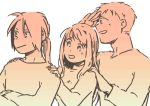 1girl 2boys :d alphonse_elric close-up crossed_arms edward_elric fingernails food fruit fullmetal_alchemist gradient hand_to_forehead hands_on_another's_shoulders happy head_tilt height_difference igi_(tarqu0ise) long_sleeves looking_away monochrome multiple_boys open_mouth orange pink profile simple_background smile standing upper_body white_background winry_rockbell
