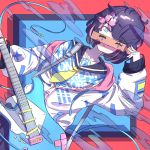 1girl album_cover black_hair black_skirt blue_eyes colorful cover dutch_angle electric_guitar guitar highres holding holding_instrument instrument kuwa_aak long_sleeves mask mask_removed original school_uniform serafuku short_hair skirt solo symbol-shaped_pupils uniform unplugged zipper