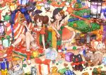 2girls ;d alolan_form alolan_vulpix bangs black_hair box breasts brown_hair candle candy candy_cane cat christmas christmas_tree clefairy commentary_request creature creatures_(company) cubchoo dog double_bun dress english_text fire flame food game_freak gen_1_pokemon gen_2_pokemon gen_5_pokemon gen_7_pokemon gift gift_box green_ribbon heart highres indoors kihiro_(pixiv15798613) litten litwick looking_at_viewer love_ball mei_(pokemon) merry_christmas mizuki_(pokemon) multiple_girls nintendo one_eye_closed open_mouth pikachu poke_ball poke_ball_theme pokemon pokemon_(creature) pokemon_(game) pokemon_bw2 pokemon_usum red_dress red_footwear red_ribbon ribbon rockruff sidelocks signature sitting_on_ground small_breasts smile star striped striped_ribbon stuffed_toy tied_hair togepi twintails vulpix zorua