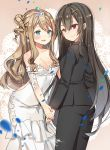 2girls :d bangs black_jacket black_pants blue_eyes blush breasts brown_background brown_eyes brown_hair cleavage closed_mouth commentary dress earrings english_commentary eye_contact eyebrows_visible_through_hair formal girls_frontline glint goyain hair_between_eyes hair_ornament hands_together heterochromia highres jacket jewelry long_hair looking_at_another m1014_(girls_frontline) medium_breasts multiple_girls one_side_up open_mouth pant_suit pants red_eyes ringlets smile strapless strapless_dress suit suomi_kp31_(girls_frontline) tiara very_long_hair white_dress x_hair_ornament