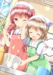 2girls :d ^_^ apron bangs batter blue_sky blush brown_apron brown_hair ceiling_light closed_eyes closed_eyes closed_mouth clouds cloudy_sky commentary_request day egg eyebrows_visible_through_hair green_apron hair_ornament head_scarf highres indoors konomori_kanon leaning_forward long_hair mixing_bowl multiple_girls one_eye_closed open_mouth puffy_short_sleeves puffy_sleeves school_uniform serafuku shirt short_sleeves sky smile sparkle tanemura_koyori tears translation_request twintails very_long_hair watashi_ni_tenshi_ga_maiorita! whisk white_sash white_shirt x_hair_ornament zenon_(for_achieve)