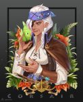 1girl alternate_costume ana_(overwatch) anchor_symbol bayonet bird black_background braid breasts brown_eyes buttons coat collarbone commentary_request corsair_ana dark_skin earrings eyepatch facial_tattoo fern flower framed_image from_side gradient gradient_background grey_background gun headband hibiscus highres jewelry kuzunue long_hair long_sleeves looking_to_the_side medium_breasts open_collar overwatch parrot parted_lips pirate plant ring rope shirt signature single_braid smile solo syringe tattoo twitter_username upper_body weapon white_hair white_shirt