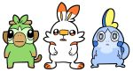 bkub blue_eyes blue_skin commentary creatures_(company) full_body game_freak gen_8_pokemon green_fur grookey highres monkey nintendo no_humans open_mouth orange_eyes pokemon pokemon_(creature) rabbit scorbunny simple_background sobble standing stick white_background white_fur