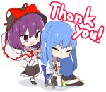 2girls :> ascot bangs black_footwear black_hat black_skirt blue_hair blue_skirt blush bobby_socks boots bow center_frills chibi closed_eyes commentary_request eyebrows_visible_through_hair frilled_shawl frills full_body hair_between_eyes hair_dryer hat hat_bow hat_removed headwear_removed highres hinanawi_tenshi holding lightning_bolt long_hair long_sleeves multiple_girls nagae_iku neropaso open_mouth petticoat plug purple_hair red_bow red_neckwear shadow shawl shirt shoes short_hair short_sleeves sidelocks simple_background sitting skirt smile socks stool thank_you touhou very_long_hair violet_eyes white_background white_legwear white_shirt