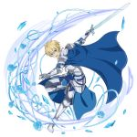 1boy armor armored_boots blonde_hair blue_cape blue_eyes blue_rose_sword boots cape eugeo gauntlets grey_pants hair_between_eyes highres holding holding_sword holding_weapon leg_up looking_at_viewer male_focus official_art open_mouth pants plant shoulder_armor solo spaulders sword sword_art_online transparent_background vines weapon