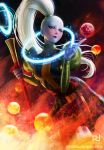 1girl artist_name artstation_username blue_skin blush breasts dragon_ball dragon_ball_(classic) dragon_ball_(object) dress holding holding_staff juliet_sleeves long_hair long_sleeves looking_at_viewer medium_breasts moon patrick_deza puffy_sleeves raised_eyebrow solo staff vados_(dragon_ball) violet_eyes white_hair