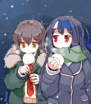2girls baozi black_hair blush brown_eyes brown_hair can eyebrows_visible_through_hair food food_in_mouth fur-trimmed_hood fur_trim green_jacket green_scarf hatsushimo_(kantai_collection) headband holding holding_can holding_food hood jacket kanoe_soushi kantai_collection long_hair long_sleeves multiple_girls navy_blue_jacket necktie night parka red_eyes red_neckwear remodel_(kantai_collection) scarf short_hair sky snow sweater twitter_username upper_body wakaba_(kantai_collection)