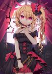1girl absurdres alternate_costume alternate_wings black_dress blonde_hair dress fang flandre_scarlet flower gunjou_row hand_on_own_face highres looking_at_viewer red_eyes red_flower slit_pupils smile touhou wings