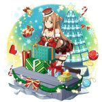 1girl asuna_(sao) bell black_footwear boots box braid breasts brown_eyes brown_hair choker christmas cleavage collarbone crossed_arms crown_braid elbow_gloves floating_hair fur-trimmed_boots fur-trimmed_gloves fur_hat fur_trim gift gift_box gloves hat highres kneeling layered_skirt leaning_forward long_hair looking_at_viewer medium_breasts midriff official_art pleated_skirt print_skirt red_gloves red_skirt shiny shiny_hair skirt smile solo stomach strapless striped sword_art_online thigh-highs thigh_boots thigh_strap very_long_hair