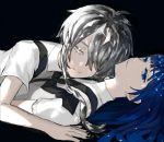 2others androgynous blue_eyes blue_hair colored_eyelashes crystal_hair dark_background gem_uniform_(houseki_no_kuni) ghost_quartz_(houseki_no_kuni) grey_eyes grey_hair hair_over_one_eye highres hime_cut houseki_no_kuni lapis_lazuli_(houseki_no_kuni) long_hair looking_at_viewer lying lying_on_person multiple_others necktie on_back ririkonosukee short_hair_with_long_locks silver_hair smile suspenders white_eyes white_hair