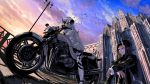 2girls arms_on_knees bird black_hair black_jacket black_legwear blue_eyes cathedral dark_skin ground_vehicle horn jacket lamppost leggings motor_vehicle motorcycle multiple_girls original pale_skin red_eyes scenery shadow siblings sitting sitting_on_ground sunset tsuki-shigure twins white_hair white_jacket white_legwear