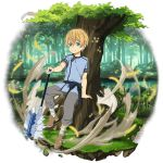 1boy against_tree axe blonde_hair blue_shirt brown_footwear day eugeo green_eyes grey_pants hair_between_eyes hand_on_hilt highres lake looking_at_viewer male_focus official_art outdoors pants shirt short_sleeves smile solo standing sword_art_online transparent_background tree