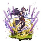 1girl ahoge breastplate cherry_blossoms detached_sleeves fingerless_gloves floating_hair full_body gloves hair_intakes hairband highres holding holding_sword holding_weapon leg_up long_hair long_sleeves looking_at_viewer official_art pointy_ears purple_gloves purple_hair purple_skirt purple_sleeves red_eyes red_hairband side_slit skirt solo standing standing_on_one_leg sword sword_art_online transparent_background very_long_hair weapon yuuki_(sao)