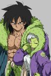 1boy 1girl ;p abs alternate_costume belt blue_coat breasts broly_(dragon_ball_super) cheelai chest coat commentary_request dirty dirty_clothes dirty_face dragon_ball dragon_ball_super_broly finger_to_eye finger_to_face fingernails fur_coat grey_background hand_on_hip height_difference hood hood_down hood_up hooded_coat long_sleeves looking_at_viewer medium_breasts one_eye_closed outsuki purple_coat scar shirt short_hair simple_background standing tongue tongue_out upper_body violet_eyes white_hair white_shirt