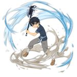 1boy axe black_eyes black_hair black_shirt brown_footwear grey_pants grin hair_between_eyes highres holding holding_axe kirito looking_at_viewer male_focus official_art pants shiny shiny_hair shirt short_sleeves smile solo sword_art_online transparent_background