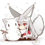 1girl :< absurdly_long_hair animal_ear_fluff animal_ears bangs barefoot blush chibi eyebrows_visible_through_hair fox_ears fox_girl fox_tail grey_hair hair_between_eyes japanese_clothes kimono long_hair long_sleeves obi original parted_lips red_eyes sash snow snow_bunny snowing snowman solo tail tail_raised triangle_mouth very_long_hair white_kimono wide_sleeves yuuji_(yukimimi) ||_||