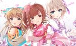 3girls :d akisaka_yamoka anastasia_(idolmaster) bare_shoulders blue_eyes blue_ribbon bow breasts brown_eyes brown_hair commentary_request detached_sleeves eyebrows_visible_through_hair hair_bow hair_ribbon highres idol idolmaster idolmaster_cinderella_girls idolmaster_cinderella_girls_starlight_stage igarashi_kyouko long_hair looking_at_viewer medium_breasts multiple_girls open_mouth pink_bow puffy_short_sleeves puffy_sleeves purple_bow ribbon short_hair short_sleeves side_ponytail silver_hair smile upper_body yorita_yoshino