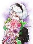 1girl black_hairband bob_cut bouquet closed_eyes commentary eyebrows_visible_through_hair eyelashes eyes_visible_through_hair flower hairband hidden_mouth holding holding_bouquet long_eyelashes nier_(series) nier_automata no_blindfold pink_flower puffy_sleeves purple_flower short_hair silver_hair sketch_eyebrows solo twitter_username upper_body yorha_no._2_type_b