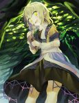 1girl :d arm_warmers bangs black_skirt blonde_hair blush brown_shirt commentary_request eyebrows_visible_through_hair feet_out_of_frame green_eyes hair_between_eyes head_tilt highres holding looking_at_viewer misha_(hoongju) mizuhashi_parsee open_mouth pointy_ears scarf shirt short_sleeves skirt smile solo standing touhou waist_cape white_scarf