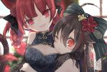 2girls :3 :d ahoge alternate_costume alternate_hairstyle animal_ear_fluff animal_ears arm_around_shoulder black_dress black_ribbon blurry blurry_background blush bow braid breasts brown_hair cat_ears cat_tail china_dress chinese_clothes commentary_request dress elbow_gloves floral_print gloves grey_bow hair_bow hair_ribbon hair_rings head_tilt hug kaenbyou_rin lens_flare light_particles long_hair looking_at_viewer medium_breasts multiple_girls multiple_tails nekomata one_eye_closed open_mouth pointy_ears portrait red_eyes redhead reiuji_utsuho ribbon signature sleeveless sleeveless_dress smile striped striped_bow tail touhou toutenkou twin_braids two_tails upper_body window
