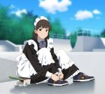 1girl apron blurry blurry_background brown_eyes brown_hair commentary maid maid_apron maid_headdress original outdoors shoes sitting skate_park skateboard sneakers solo suzushiro_(suzushiro333) tying_shoes