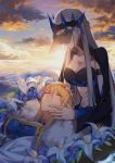 2girls ahoge artoria_pendragon_(all) artoria_pendragon_(lancer) blonde_hair blue_flower breasts cape cleavage closed_eyes clouds collarbone fate/apocrypha fate/grand_order fate_(series) flower frown fur_trim hair_between_eyes highres incest lap_pillow large_breasts leaf lily_(flower) long_hair long_sleeves morgan_le_fay_(fate) multiple_girls siblings sisters sunset tattoo upper_body veil very_long_hair white_cape white_flower wide_sleeves yorukun yuri