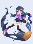 1girl ;d black_hair black_legwear brown_eyes domino_mask fangs full_body glasses inkbrush_(splatoon) inkling jtveemo legs_apart long_hair long_sleeves looking_at_viewer mask miniskirt multicolored multicolored_clothes multicolored_footwear one_eye_closed open_mouth paint paintbrush pleated_skirt pointy_ears red-framed_eyewear semi-rimless_eyewear shoes skirt smile solo splatoon splatoon_(series) splatoon_2 tentacle_hair thigh-highs thighs under-rim_eyewear white_skirt zettai_ryouiki