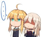 ... 2girls ahoge alternate_costume artoria_pendragon_(all) artoria_pendragon_(lancer) bangs bare_shoulders black_dress blonde_hair braid breasts cape chibi cleavage collared_shirt detached_sleeves dress expressionless eyebrows_visible_through_hair fate/apocrypha fate/grand_order fate_(series) french_braid fur_trim green_neckwear hair_between_eyes lipstick long_hair makeup morgan_le_fay_(fate) multiple_girls shaded_face shirt siblings sisters spoken_ellipsis tattoo white_background white_cape yorukun