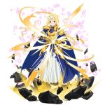 1girl alice_schuberg armor armored_dress blonde_hair blue_dress blue_eyes breastplate dress fate/stay_night fate_(series) faulds floating_hair full_body gauntlets hairband highres holding holding_sheath holding_sword holding_weapon long_hair long_skirt looking_at_viewer official_art osmanthus_blade pleated_skirt sheath shoulder_armor skirt skirt_under_dress solo spaulders sword transparent_background unsheathing very_long_hair weapon white_hairband white_skirt