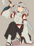 1girl animal_ears arm_support bridal_gauntlets closed_mouth commentary_request detached_sleeves eyebrows_visible_through_hair full_body grey_hair hand_up hat highres holding holding_sword holding_weapon inubashiri_momiji japanese_clothes looking_to_the_side looking_up one_knee over_shoulder pants pom_pom_(clothes) red_eyes retora serious shirt short_hair sleeveless sleeveless_shirt solo sword tabi tokin_hat touhou weapon weapon_over_shoulder wide_sleeves wolf_ears zouri