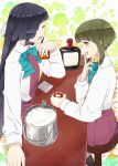 2girls absurdres alcohol black_hair bob_cut boots bow bowtie braid brown_eyes closed_eyes cross-laced_footwear cup dress facing_another green_hair hair_over_one_eye hair_ribbon halterneck hayashimo_(kantai_collection) highres hime_cut holding holding_cup ice ice_bucket kanmiya_shinobu kantai_collection lace-up_boots long_hair long_sleeves looking_at_another multiple_girls open_mouth ribbon school_uniform shirt short_hair sidelocks sleeveless sleeveless_dress takanami_(kantai_collection) very_long_hair whiskey white_ribbon white_shirt