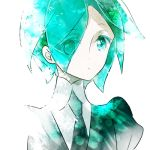1other androgynous colored_eyelashes crystal_hair eyes_visible_through_hair gem_uniform_(houseki_no_kuni) green_eyes green_hair houseki_no_kuni looking_at_viewer lowres necktie phosphophyllite short_hair shumiko_(kamenokoueki) solo upper_body white_background
