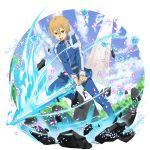 1boy blonde_hair blue_eyes blue_flower blue_jacket blue_pants blue_rose blue_rose_sword eugeo flower highres holding holding_sword holding_weapon jacket leg_up long_sleeves male_focus official_art pants rose solo sword sword_art_online transparent_background weapon