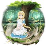 1girl against_tree alice_schuberg apron blonde_hair blue_eyes blue_shirt blue_skirt boots brown_footwear day floating_hair frilled_skirt frills full_body hairband highres lake long_hair long_skirt looking_at_viewer official_art outdoors shirt short_sleeves skirt solo sword_art_online transparent_background tree very_long_hair white_apron white_hairband