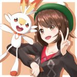 1girl bangs blush brown_eyes brown_hair commentary_request creatures_(company) female_protagonist_(pokemon_swsh) game_freak gen_8_pokemon green_hat hair_between_eyes hat highres long_sleeves looking_at_viewer nintendo open_mouth peace_symbol pokemon pokemon_(creature) pokemon_(game) pokemon_swsh red_eyes scorbunny seiza shirt short_hair simple_background sitting smile ta_rou_51 tam_o'_shanter upper_teeth v