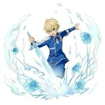 1boy blonde_hair blue_eyes blue_flower blue_jacket blue_pants blue_rose blue_rose_sword eugeo flower hair_between_eyes highres holding holding_sword holding_weapon jacket long_sleeves male_focus official_art open_mouth outstretched_arm pants rose shiny shiny_hair solo sword sword_art_online transparent_background weapon