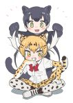 2girls animal_ears animal_print appleq bangs behind_another black_hair black_leopard_(kemono_friends) black_shirt blonde_hair blush bow bowtie breast_pocket commentary_request extra_ears eyebrows_visible_through_hair full_body gloves green_eyes grin hair_lift hand_on_own_chin hand_on_own_leg hand_up hands_up highres holding holding_hair indian_style kemono_friends kneeling leopard_(kemono_friends) leopard_ears leopard_print leopard_tail lifted_by_another long_hair looking_at_viewer multicolored_hair multiple_girls open_mouth pocket print_gloves print_legwear print_skirt red_neckwear shirt shoes short_sleeves sidelocks simple_background sitting skirt smile tail thigh-highs twintails v-shaped_eyebrows white_background white_hair white_shirt yellow_eyes zettai_ryouiki