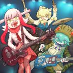 3girls :< absurdres adapted_costume alpaca_ears alpaca_suri_(kemono_friends) animal_ear_fluff animal_ears arms_up bangs bara_bara_(pop_pop) bird_wings blonde_hair buttons closed_mouth commentary_request contemporary drum drumming drumsticks electric_guitar eyebrows_visible_through_hair floating_hair fur-trimmed_sleeves fur_collar fur_trim gloves green_eyes green_hair guitar hair_between_eyes hair_over_one_eye head_wings highres holding holding_instrument hood hood_up hoodie horizontal_pupils instrument jacket japanese_crested_ibis_(kemono_friends) kemono_friends long_hair long_sleeves looking_at_viewer looking_down multicolored multicolored_eyes multicolored_hair multiple_girls music neck_ribbon necktie open_mouth pantyhose pink_hair plaid plaid_skirt playing_instrument pleated_skirt plectrum pocket red_gloves red_legwear redhead ribbon shirt shorts skirt slit_pupils snake_tail standing striped_hoodie striped_tail sweater_vest tail tsuchinoko_(kemono_friends) two-tone_hair wings yellow_eyes