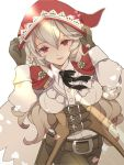 belt breasts brown_gloves closed_mouth cosplay female_my_unit_(fire_emblem_if) fire_emblem fire_emblem_if gloves hands_on_headwear highres hood hood_up long_hair long_sleeves medium_breasts my_unit_(fire_emblem_if) nintendo petals pointy_ears red_eyes renkonmatsuri simple_background smile velour_(fire_emblem_if) velour_(fire_emblem_if)_(cosplay) white_background white_hair