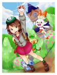 1girl :d backpack bag bangs brown_eyes brown_hair bush closed_eyes clouds cloudy_sky commentary_request creatures_(company) d: fangs female_protagonist_(pokemon_swsh) full_body game_freak gen_8_pokemon green_hat grookey gym hand_up hat highres holding holding_poke_ball long_sleeves nintendo open_eyes open_mouth outdoors poke_ball poke_ball_(generic) pokemon pokemon_(creature) pokemon_(game) pokemon_swsh scorbunny shirt short_hair sky smile sobble tam_o'_shanter upper_teeth user_rkfm8822 victory_pose
