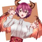 1girl :o breasts claw_pose commentary_request dragon_girl dragon_horns dragon_wings dutch_angle granblue_fantasy grea_(shingeki_no_bahamut) horns large_breasts light_blush looking_at_viewer manaria_friends pointy_ears purple_hair red_eyes rmk_s212 shirt short_hair solo upper_body white_shirt wings