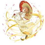 1girl asuna_(sao) brown_eyes brown_hair cherry_blossoms floating_hair floral_print full_body gradient_kimono head_tilt highres holding holding_umbrella japanese_clothes kimono long_hair looking_at_viewer official_art open_mouth oriental_umbrella print_kimono print_umbrella solo standing sword_art_online tabi transparent_background umbrella very_long_hair white_kimono white_legwear yellow_kimono yukata