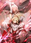 2girls armor aura bangs bare_shoulders blonde_hair blue_eyes breasts double_bun dress elbow_gloves eyebrows_visible_through_hair fate/apocrypha fate_(series) floaitng_hair frankenstein's_monster_(fate) gauntlets gloves green_eyes grin hair_ornament hair_over_eyes hair_over_one_eye headgear highres holding holding_sword holding_weapon horn long_hair looking_at_viewer mace medium_breasts mordred_(fate)_(all) multiple_girls no-kan open_mouth pelvic_curtain pink_hair ponytail short_hair smile sword veil weapon white_dress white_gloves wind