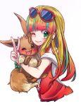 1girl ;) ;d bangs blonde_hair blush brown_fur creatures_(company) earrings eevee eyewear_on_head fur game_freak gen_1_pokemon green_eyes jewelry long_hair looking_at_viewer makeup multicolored_hair nail_polish nintendo one_eye_closed open_mouth pink_hair pokemon pokemon:_minna_no_monogatari pokemon_(anime) pokemon_(creature) risa_(pokemon) shirt smile sunglasses user_ndwr5888