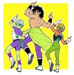 1girl 2boys :d armor bike_shorts black_hair boots broly_(dragon_ball_super) cheelai chuya_hukuaka commentary_request dancing dragon_ball dragon_ball_super_broly fanny_pack fingernails full_body ginga_patrol_jaco gloves green_legwear hat highres index_finger_raised jaco_teirimentenpibosshi_pose leg_up lemo_(dragon_ball) looking_at_viewer looking_back multiple_boys nervous open_mouth outstretched_arms purple_legwear scar scouter shirtless short_hair simple_background smile standing sweatdrop two-tone_background violet_eyes white_background white_gloves white_hair yellow_background
