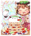 >_< 1girl :3 animal_ear_fluff animal_ears banana_slice blue_background blueberry blurry bow bowtie brown_hair cat_ears cat_tail chen closed_eyes commentary_request confetti creature depth_of_field fang fireworks food fruit happy hat high_collar highres holding ibaraki_natou kiwi_slice long_sleeves mob_cap mochen multiple_tails number open_mouth pancake party_popper plate pocky raspberry red_skirt red_vest shirt short_hair skirt smile solo sparkler stack_of_pancakes standing strawberry streamers table tail touhou upper_body vest whipped_cream white_neckwear white_shirt
