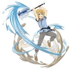 1boy :d arms_up axe blonde_hair blue_shirt brown_footwear eugeo full_body green_eyes grey_pants highres holding holding_axe leg_up looking_at_viewer male_focus official_art open_mouth pants shirt short_hair short_sleeves smile solo standing standing_on_one_leg sword_art_online transparent_background