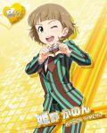blush brown_hair character_name green_eyes himeno_kanon idolmaster idolmaster_side-m jacket pants short_hair smile valentines wink