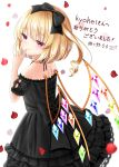 1girl absurdres alternate_costume arm_up artist_name bangs black_neckwear blonde_hair commentary_request cowboy_shot dress eyebrows_visible_through_hair finger_to_mouth flandre_scarlet from_above from_behind gothic_lolita hair_ribbon head_tilt highres layered_skirt light_blush lolita_fashion looking_to_the_side neck_ribbon no_hat no_headwear nyanyanoruru one_side_up partial_commentary petals petticoat puffy_short_sleeves puffy_sleeves raglan_sleeves red_eyes ribbon rose_petals short_hair short_sleeves simple_background skirt smile solo standing strapless strapless_dress thank_you touhou white_background wings